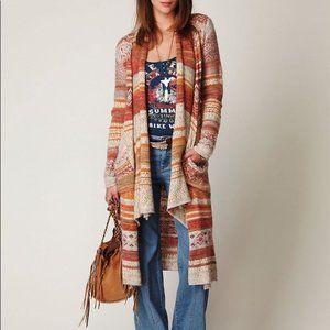 Free People Red Long Yarn Aztec Alpaca wool Blend Hi-Lo Long Fair Isle Cardigan